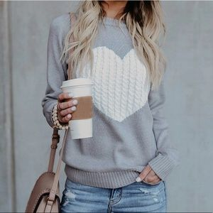 Tops - Valentines heart Gray knit sweater tops